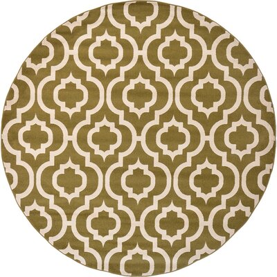 Moore Light Green Area Rug Rug Size: Round 5'