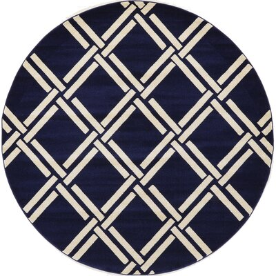 Storyvale Navy Blue Area Rug Rug Size: Round 6