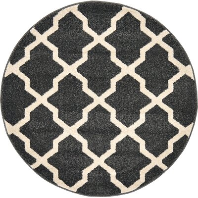 Moore Black Area Rug Rug Size: Round 33