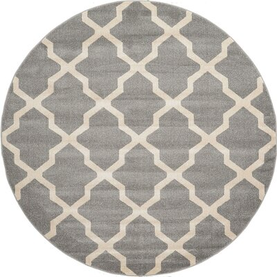 Moore Gray Area Rug Rug Size: Round 8