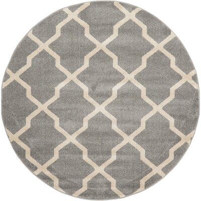 Moore Gray Area Rug Rug Size: Round 6