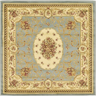 Oskar Light Blue Area Rug Rug Size: Square 4