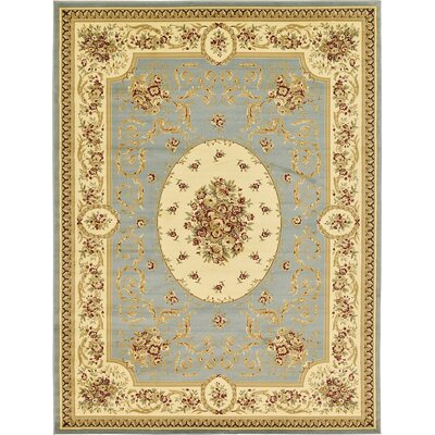 Oskar Light Blue Area Rug Rug Size: Rectangle 9 x 12