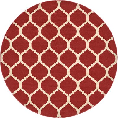 Moore Red Area Rug Rug Size: Round 10