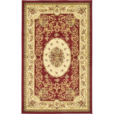 Oskar Red Area Rug Rug Size: 33 x 53