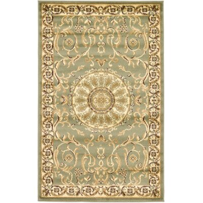 Oskar Light Green Area Rug Rug Size: 9 x 12
