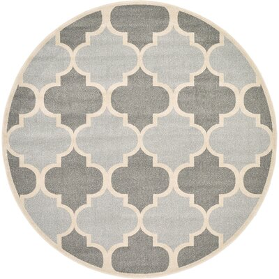 Moore Silver Area Rug Rug Size: Round 8