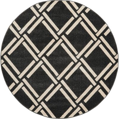 Moore Black Area Rug Rug Size: Round 6