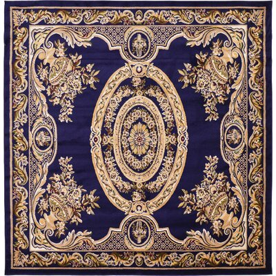Oskar Navy Blue Area Rug Rug Size: Square 8
