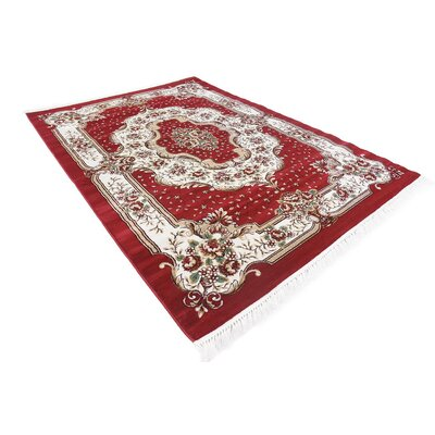 Oskar Red Area Rug Rug Size: Rectangle 67 x 96