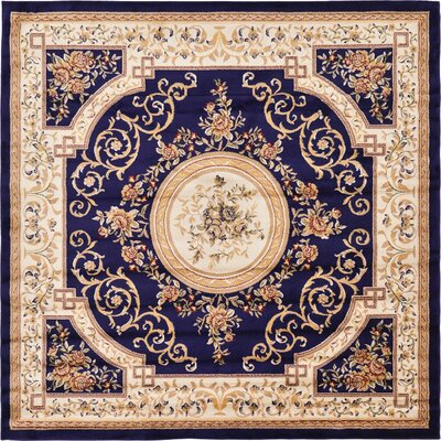 Oskar Navy Blue Area Rug Rug Size: Square 8'