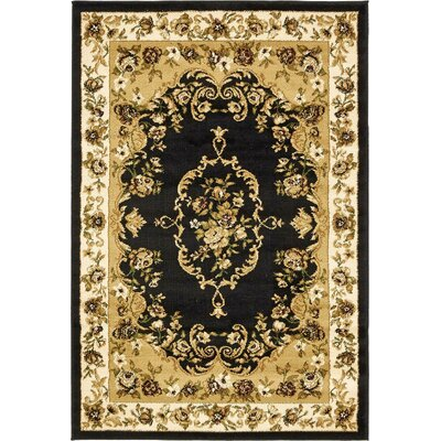 Oskar Black/Cream Area Rug Rug Size: 3'3