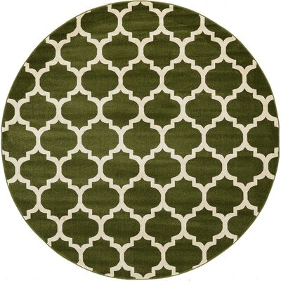 Moore Green/Beige Area Rug Rug Size: Round 8