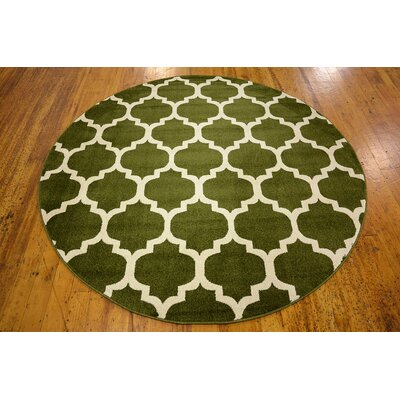 Moore Dark Green Area Rug Rug Size: Round 6