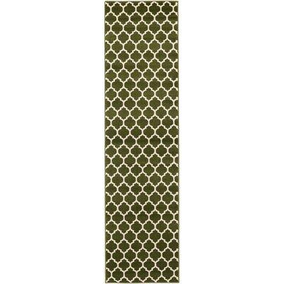 Moore Green/Beige Area Rug Rug Size: Runner 27 x 10