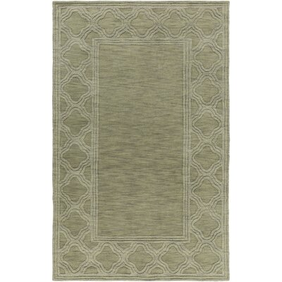 Peever Hand-Woven Wool Green Area Rug Rug Size: Rectangle 5 x 8