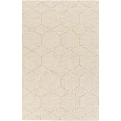 Peever Hand-Loomed Khaki Area Rug Rug size: 33 x 53