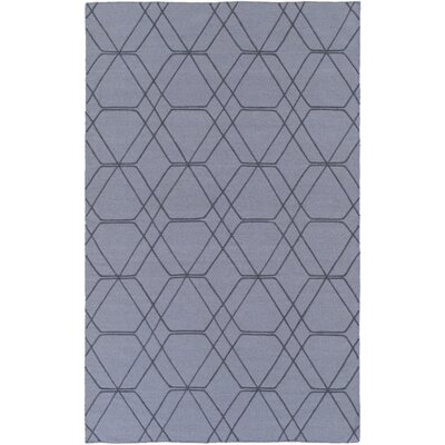 Robin Hand-Woven Medium Gray/Pale Blue Area Rug Rug size: 36 x 56