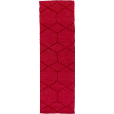 Peever Hand-Loomed Bright Red Area Rug Rug size: Runner 26 x 8