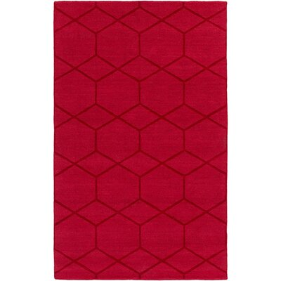 Peever Hand-Loomed Bright Red Area Rug Rug size: Rectangle 33 x 53