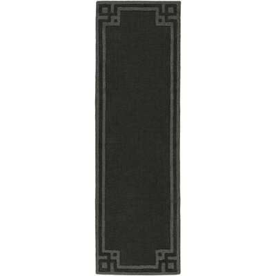Peever Hand-Loomed Black Area Rug Rug size: Runner 26 x 8