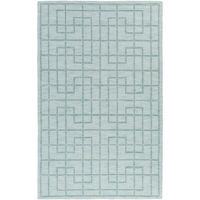 Peever Hand-Loomed Aqua Area Rug Rug size: Rectangle 33 x 53