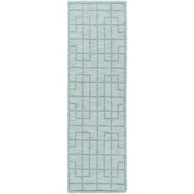 Peever Hand-Loomed Aqua Area Rug Rug size: Runner 26 x 8