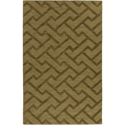 Peever Hand-Loomed Olive Area Rug Rug size: Rectangle 33 x 53
