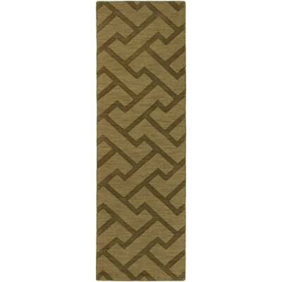 Peever Hand-Loomed Olive Area Rug Rug size: Runner 26 x 8