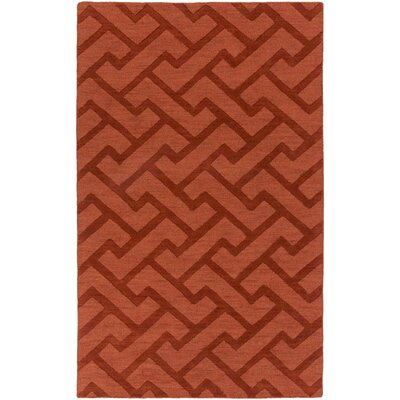 Peever Hand-Loomed Dark Red Area Rug Rug size: 5 x 8
