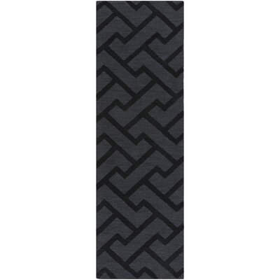 Peever Hand-Loomed Black Area Rug Rug size: Runner 26 x 8