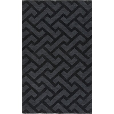 Peever Hand-Loomed Black Area Rug Rug size: 33 x 53
