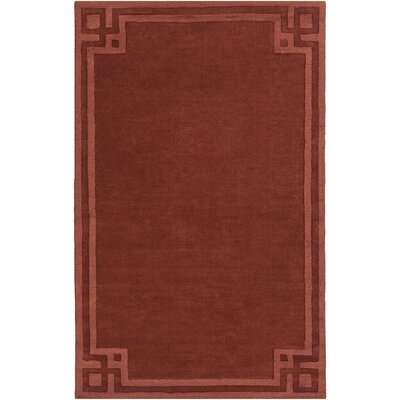 Peever Hand-Loomed Rust Area Rug Rug size: Rectangle 5 x 8
