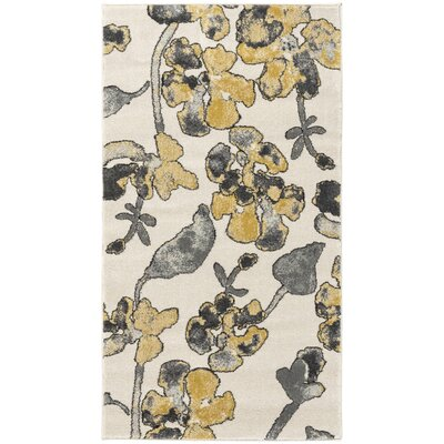 Retta Yellow/Gray Area Rug Rug size: Rectangle 22 x 4