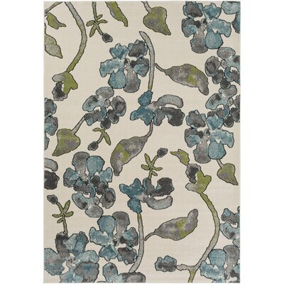 Retta Green/Beige Area Rug Rug size: Rectangle 53 x 76