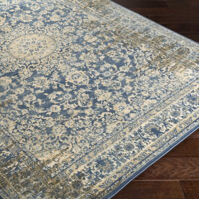 Netta Blue/Cream Area Rug Rug Size: Rectangle 5 x 76