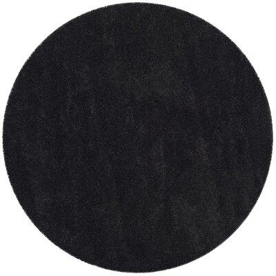 Raphael Black Area Rug Rug Size: Round 7 x 7