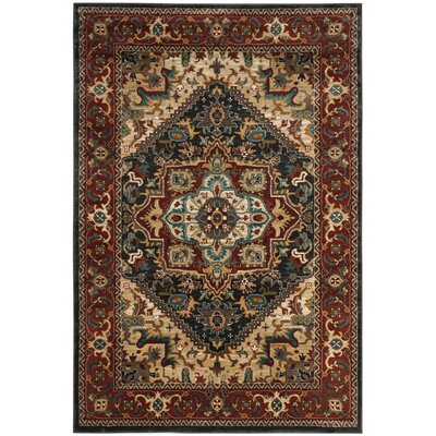 Rasmussen Gray/Red Area Rug Rug Size: 51 x 76