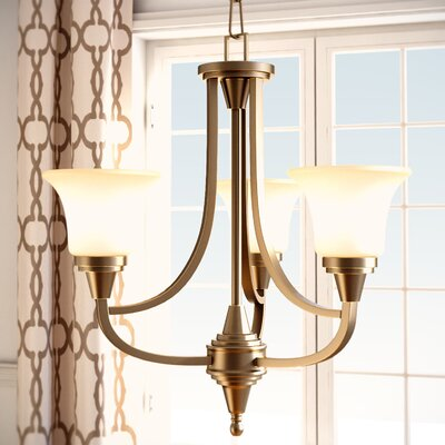 Reynal 3-Light Shaded Chandelier Finish / Shade Type: Vintage Bronze / Auburn Beige