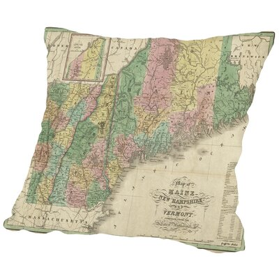 Packard Maine Vermont New Hampshire Map Throw Pillow