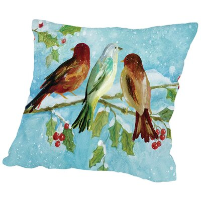 Ramona Three Birds on Holly Throw Pillow Size: 16 H x 16 W x 2 D
