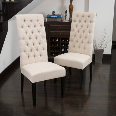 Estbury Tall Tufted Upholstered Dining Chair Upholstery: Beige