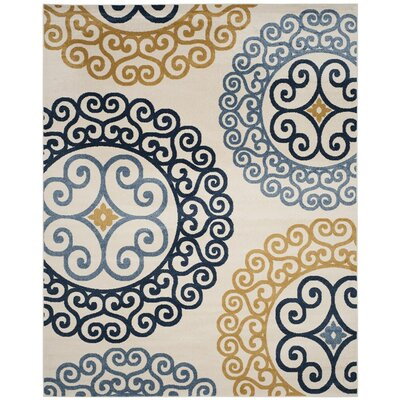 Neil Ivory/Blue Indoor/Outdoor Area Rug Rug Size: 3 x 5