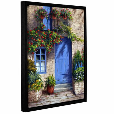 Provence Blue Door Framed Painting Print on Wrapped Canvas Size: 10