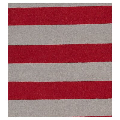 Atkins Carmine/Gray Striped Area Rug Rug Size: Runner 26 x 8