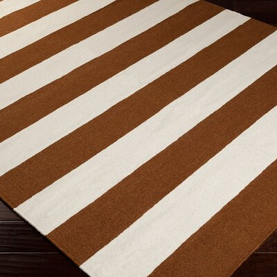 Atkins Sepia/White Striped Area Rug Rug Size: Runner 26 x 8