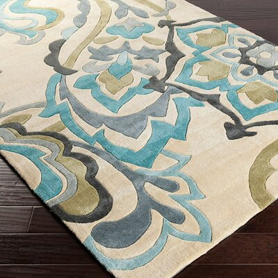 Windsor Sand/Teal Rug Rug Size: Rectangle 36 x 56