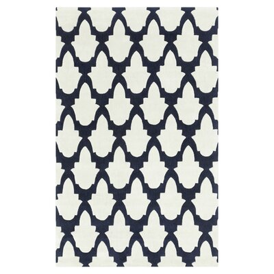 Windsor Bone/Midnight Blue Rug Rug Size: Round 8