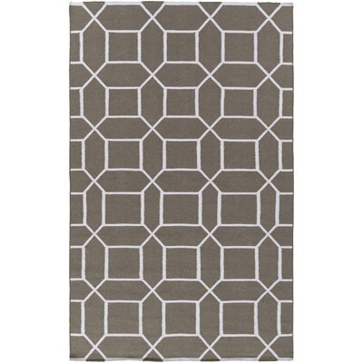 Larksville Charcoal/Ivory Indoor/Outdoor Area Rug Rug Size: 36 x 56