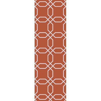 Larksville Rust/Ivory Indoor/Outdoor Area Rug Rug Size: Runner 26 x 8